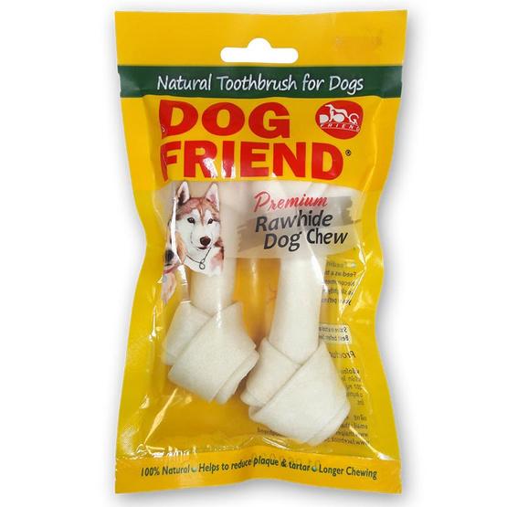 ซื้อ DOG FRIEND ขนมขบเคี้ยวสุนัข กระดูกผูก 4.5 นิ้ว สีขาว 2 ชิ้น (4 แพ็ค)