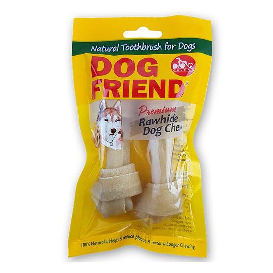 ซื้อ DOG FRIEND ขนมขบเคี้ยวสุนัข กระดูกผูก 4.5 นิ้ว สีธรรมชาติ 2 ชิ้น (4 แพ็ค)