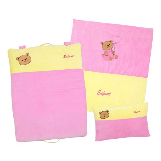 ENFANT ชุดผ้านวม+หมอนหนุน+เบาะนอน สีชมพู