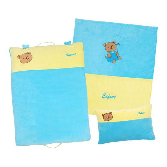 ENFANT ชุดผ้านวม+หมอนหนุน+เบาะนอน สีฟ้า