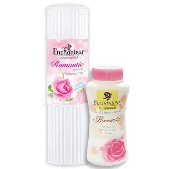 Enchanteur Set Body Shimmer Talcum 125G+Facial Shimmer 50G#Romantic