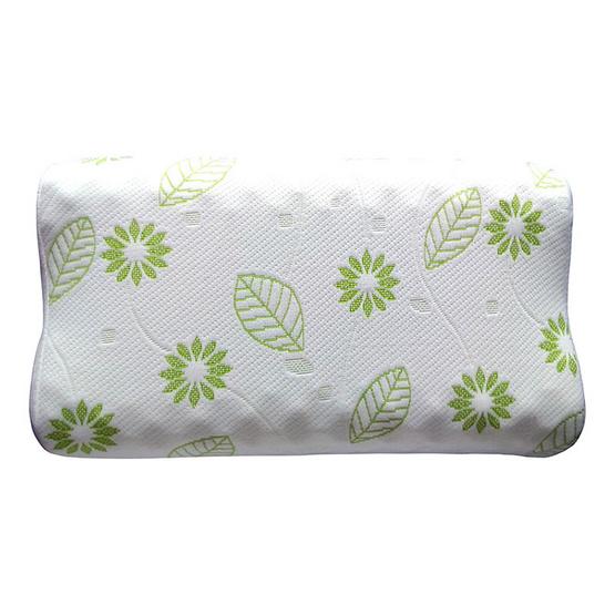 Erawan หมอนยางพาราธรรมชาติ100% รุ่น ชาร์โคล คอนทัวร์ น็อบบี้ขาว-เขียว
