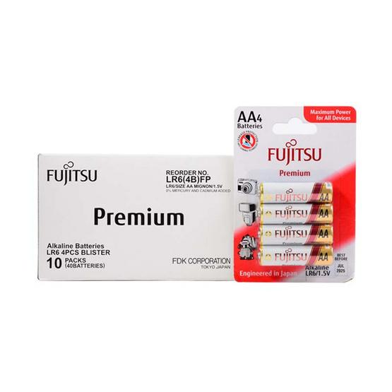 Fujitsu ถ่านอัลคาไลน์ Premium รุ่น LR6(4B)FP Size AA Box 4x10