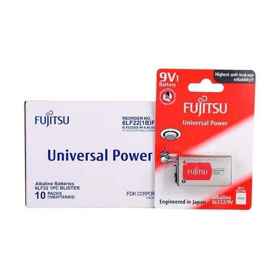 Fujitsu ถ่านอัลคาไลน์ Universal รุ่น 6LF22(B)FU Size 9V. Box 1x10
