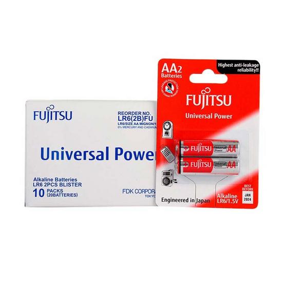 Fujitsu ถ่านอัลคาไลน์ Universal รุ่น LR6(2B)FU Size AA 1.5V Box 2x10