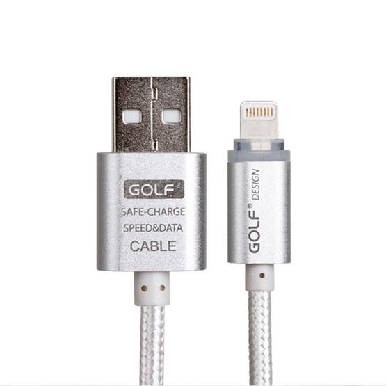 Golf สายชาร์จหัวโลหะ สายถัก USB Lightning ความยาว 1 เมตร