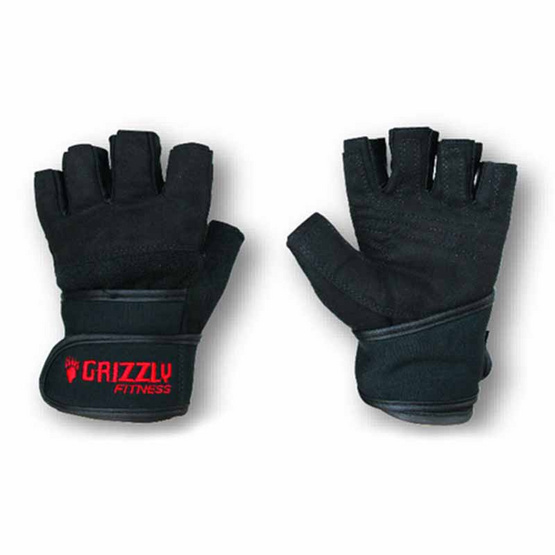 Grizzly Fitness POWER TRAINING WRIST WRAP GLOVES ถุงมือหนังแท้คุณภาพเยี่ยม size S