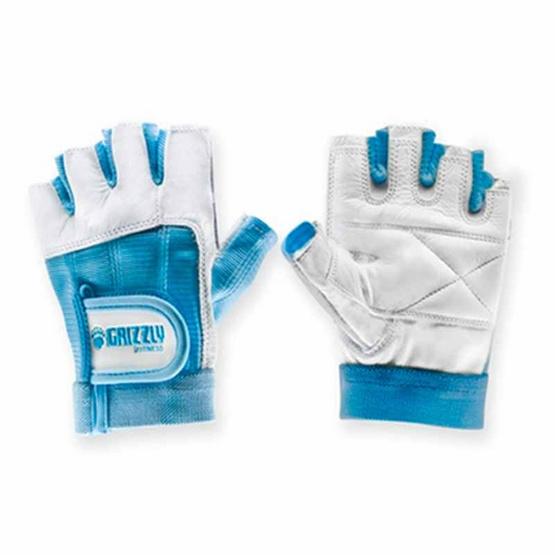 Grizzly Fitness WOMEN PAWS BLUE ถุงมือหนังแท้ สีฟ้า size L
