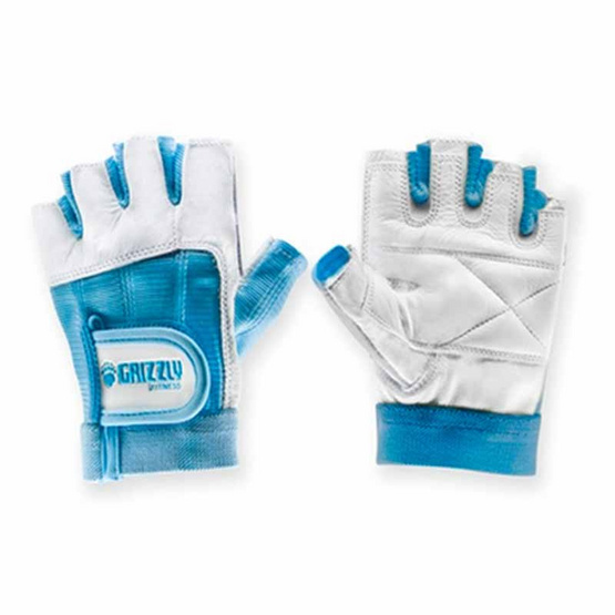 Grizzly Fitness WOMEN PAWS BLUE ถุงมือหนังแท้ ระบายอากาศได้ดี สีฟ้า size M