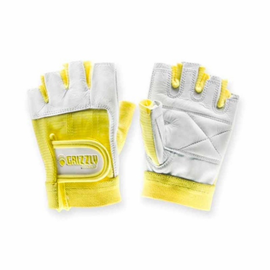 Grizzly Fitness WOMEN PAWS YELLOW ถุงมือหนังแท้ สีเหลือง size XS
