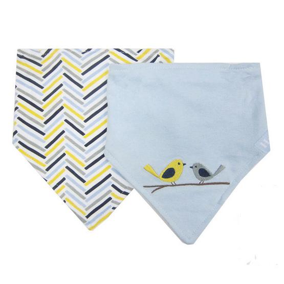 Hudson Baby ผ้ากันเปื้อนสามเหลี่ยมแพ็คคู่รุ่นหนา ลายนกคู่สีฟ้า