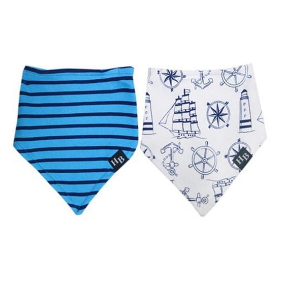 Hudson Baby ผ้ากันเปื้อนสามเหลี่ยมแพ็คคู่รุ่นหนา ลายสมอเรือสีฟ้า