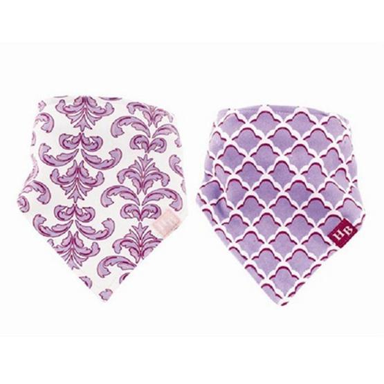 Hudson Baby ผ้ากันเปื้อนสามเหลี่ยมแพ็คคู่รุ่นหนา ลายดอกไม้สีม่วง