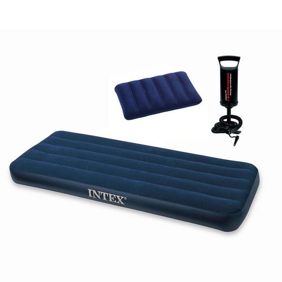 Intex ชุดที่นอนเป่าลมเตียงเดี่ยวจูเนียร์ 2.5 ฟุต ฟรี หมอน 1 ใบ และที่สูบลม Double Quick I