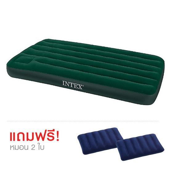 Intex ที่นอนเป่าลม Camping แบบมีที่สูบลมใช้เท้าเหยียบฝังในตัวเตียงคู่ควีน 5 ฟุต ฟรี หมอน 2 ใบ