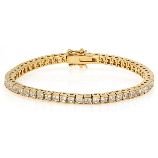 Jewelry Buffet สร้อยข้อมือฝังกระเปาะเพชรสวืสทรงสี่เหลี่ยมชุบทอง18K/RB00200