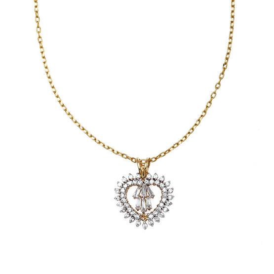 Jewelry Buffet จี้รูปหัวใจประดับเพชรสวิสชุบทองคำขาวและทองคำ18K/RP06091