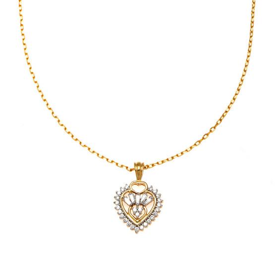 Jewelry Buffet จี้รูปหัวใจประดับเพชรสวิสชุบทองคำขาวและทองคำ18K/RP06093