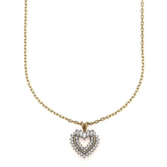 Jewelry Buffet จี้รูปหัวใจประดับเพชรสวิสชุบทองคำขาวและทองคำ18K/RP06100
