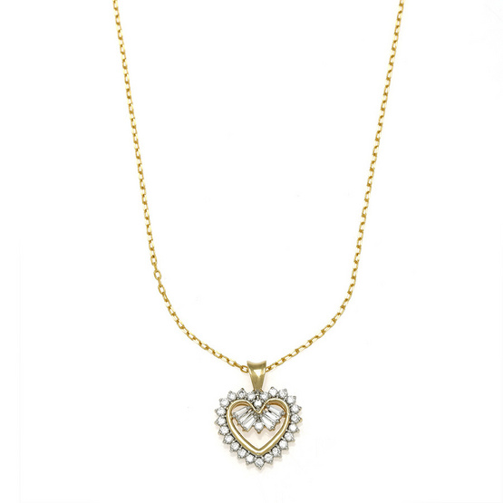 Jewelry Buffet จี้รูปหัวใจประดับเพชรสวิสชุบทองคำขาวและทองคำ18K/RP06101