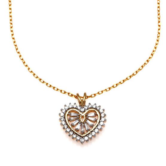 Jewelry Buffet จี้รูปหัวใจประดับเพชรสวิสชุบทองคำขาวและทองคำ18K/RP06108