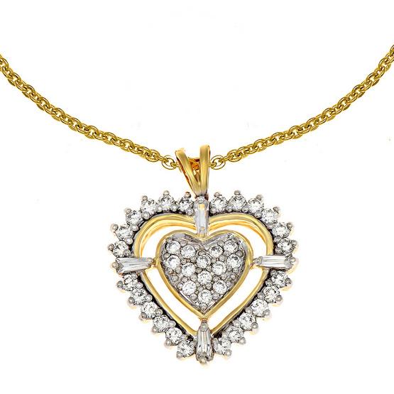 Jewelry Buffet จี้รูปหัวใจประดับเพชรสวิสชุบทองคำขาวและทองคำ18K/RP06109