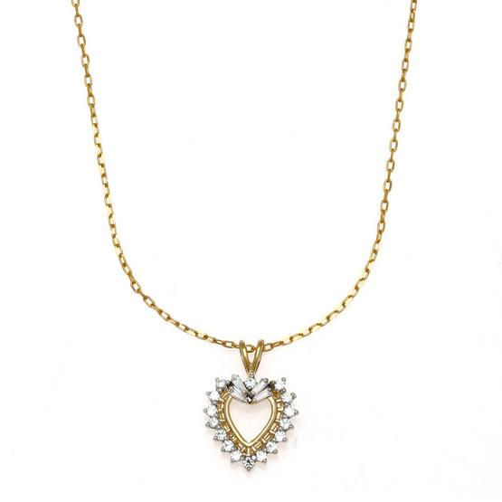 Jewelry Buffet จี้รูปหัวใจประดับเพชรสวิสชุบทองคำขาวและทองคำ18K/RP06144