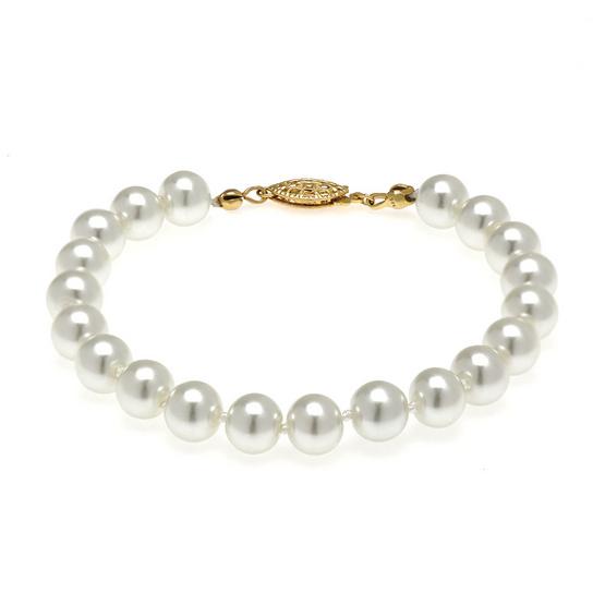 Jewelry Buffet สร้อยข้อมือเงินแท้ 925 ประดับมุก ชุบทองคำขาว/RB03206