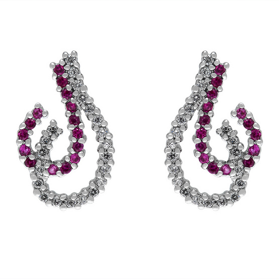 Jewelry Buffet ต่างหูประดับเพชรสวิส เคลือบทองคำขาว/CE00250