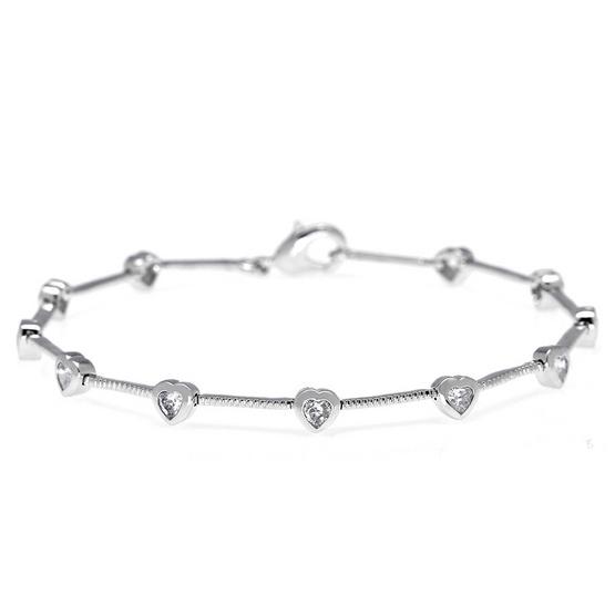 Jewelry Buffet สร้อยข้อมือประดับเพชรสวิสหัวใจชุบทองคำขาว/RB00374