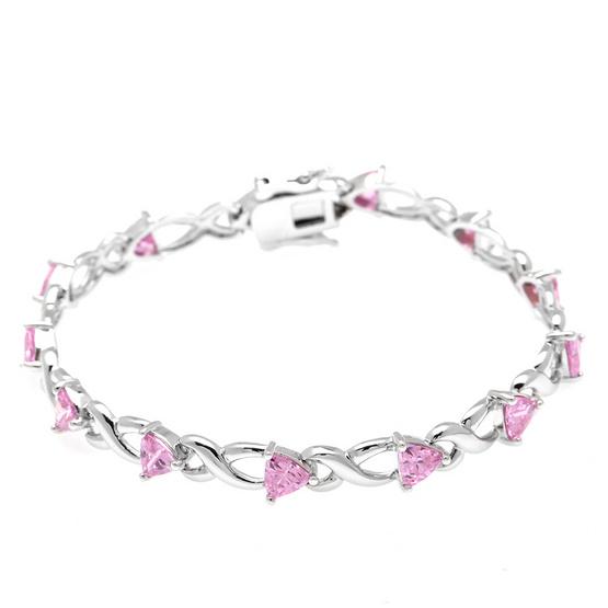 Jewelry Buffet สร้อยข้อมือประดับเพชรสวิสหัวใจชมพูชุบทองคำขาว/RB01754