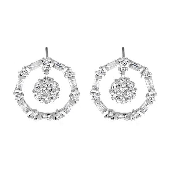 Jewelry Buffet ต่างหูทรงกลม ประดับเพชรสวิสชุบทองคำขาว/RE04419