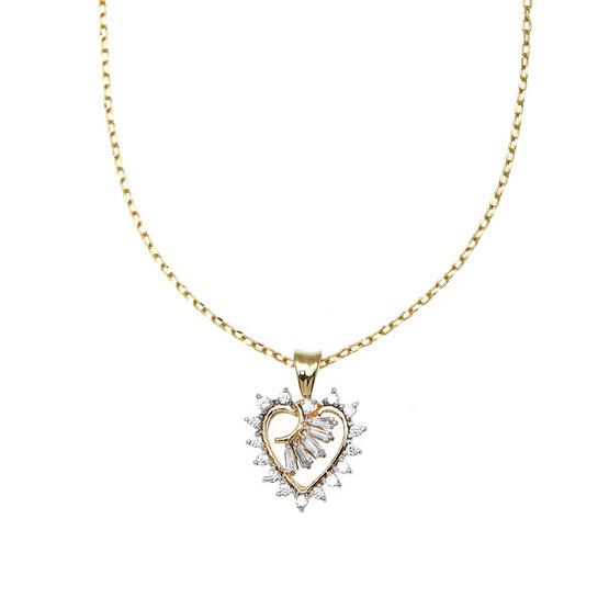 Jewelry Buffet จี้รูปหัวใจประดับเพชรสวิสชุบทองคำขาว/RP06090