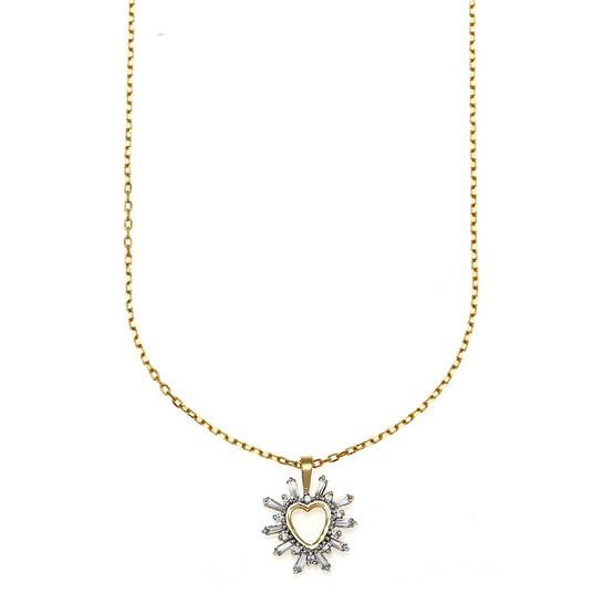 Jewelry Buffet จี้รูปหัวใจประดับเพชรสวิสชุบทองคำขาว/RP06092