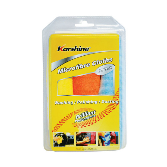 KARSHINE Microfibre 3 Pack ผ้าไมโครไฟเบอร์ แพ็ค 3 40 x 40 ซม.