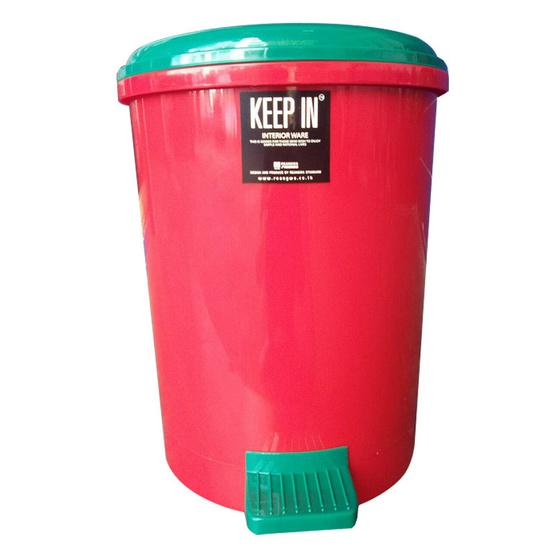 KEEP IN ถังผงอนามัย 18 ลิตร สีแดงฝาเขียว