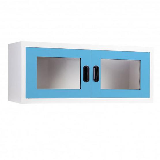 KIOSK-MAX-012 ตู้แขวนวางหนังสือบานเปิดกระจก รุ่น Maxbook สี BO-Blue Ocean