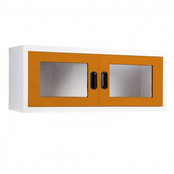 KIOSK-MAX-012 ตู้แขวนวางหนังสือบานเปิดกระจก รุ่น Maxbook สี OR-Orange