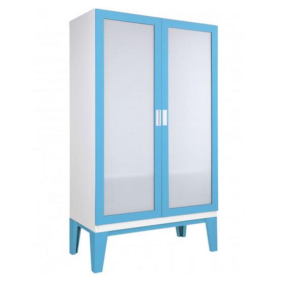 KIOSK-WD-02-2 ตู้เสื้อผ้าบานเปิดกระจกเงา รุ่น ROPA BO-Blue Ocean