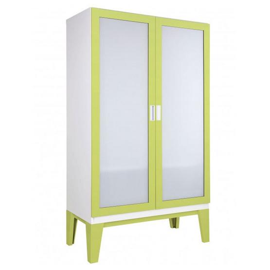 KIOSK-WD-02-2 ตู้เสื้อผ้าบานเปิดกระจกเงา รุ่น ROPA GR-Green
