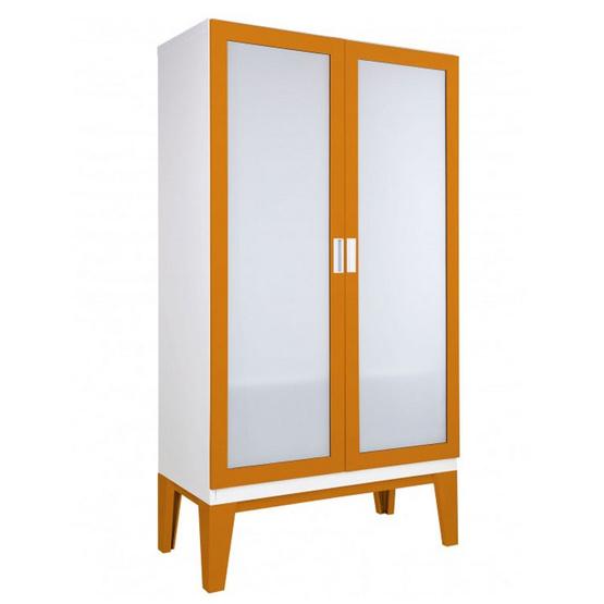 KIOSK-WD-02-2 ตู้เสื้อผ้าบานเปิดกระจกเงา รุ่น ROPA OR-Orange
