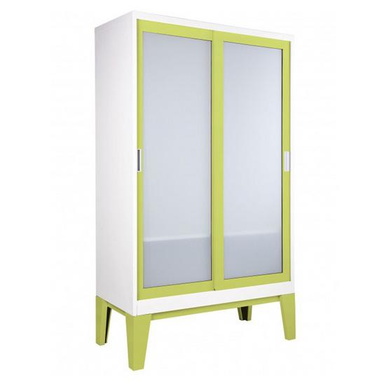 KISOK-WD-05-2 ตู้เสื้อผ้าบานเลื่อนกระจกเงา รุ่น ROPA GR-Green