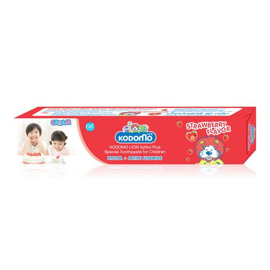 Kodomo ยาสีฟันโคโดโมครีม กลิ่นสตรอเบอรี่ Cream Toothpaste (Strawberry) 80 g แพ็ค 3