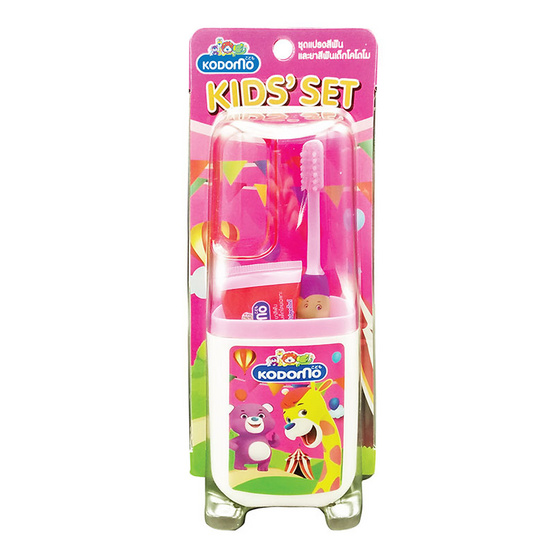 Kodomo ชุดยาสีฟันและแปรงสีฟันพกพา คิดส์เซ็ท (รุ่น Tom & Jerry) สีชมพู แพ็ค 3