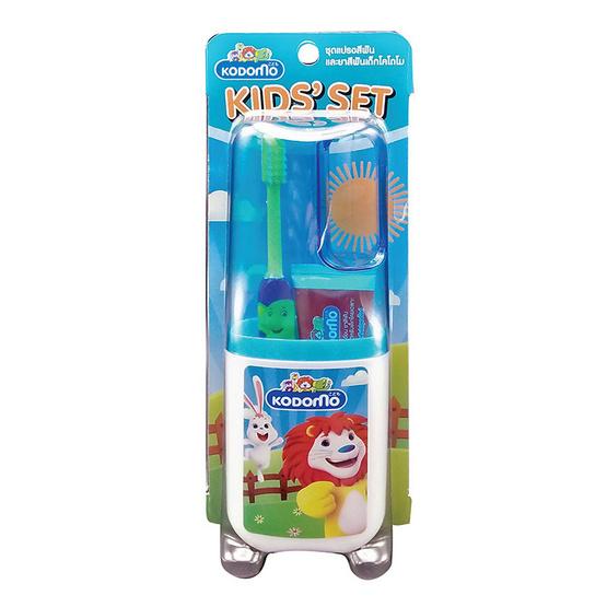 Kodomo ชุดยาสีฟันและแปรงสีฟันพกพา คิดส์เซ็ท (รุ่น Tom & Jerry) สีฟ้า แพ็ค 3