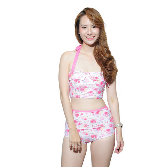 Little Sweet Bikini ชุดว่ายน้ำทูพีช รุ่น Vintage ลายดอกไม้ชมพู