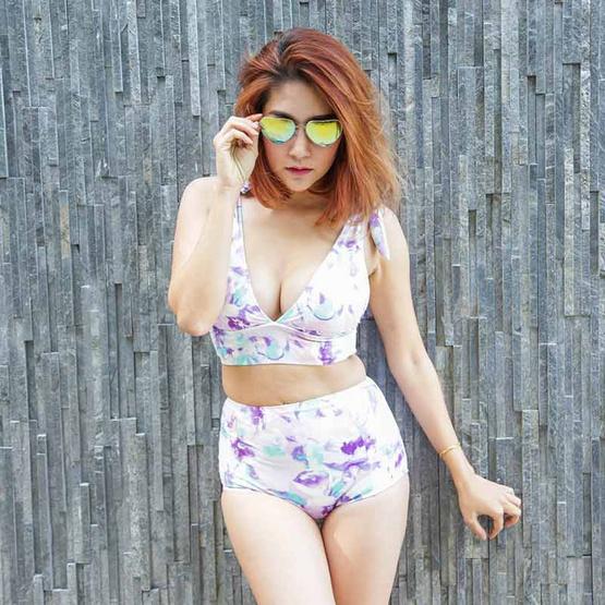 Little Sweet Bikini ชุดว่ายน้ำทูพีช รุ่น XOXO ลายดอกสีม่วง