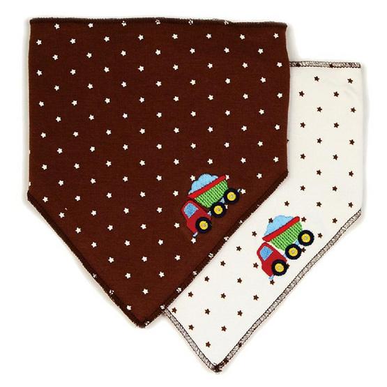 Luvable Friends ผ้ากันเปื้อนสามเหลี่ยมแพ็คคู่ ลายรถบรรทุก สีน้ำตาล