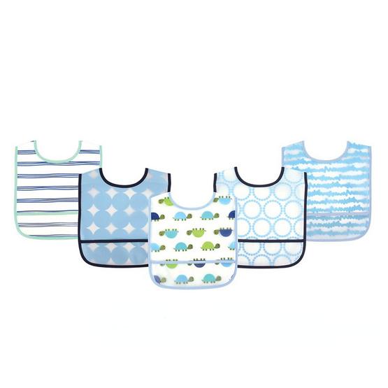 Luvable Friends ผ้ากันเปื้อนพลาสติกแพ็ค 5 ผืน ลายเต่า สีฟ้า
