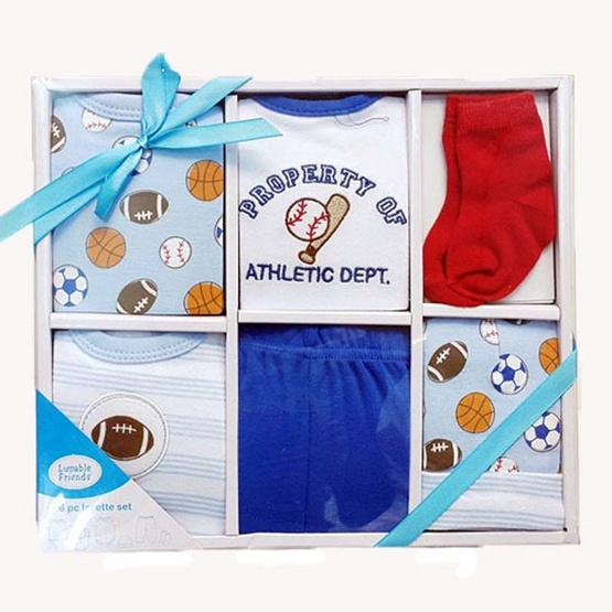Luvable Friends กิ๊ฟเซ็ตของขวัญ 6 ชิ้น ลายเบสบอล สีฟ้า
